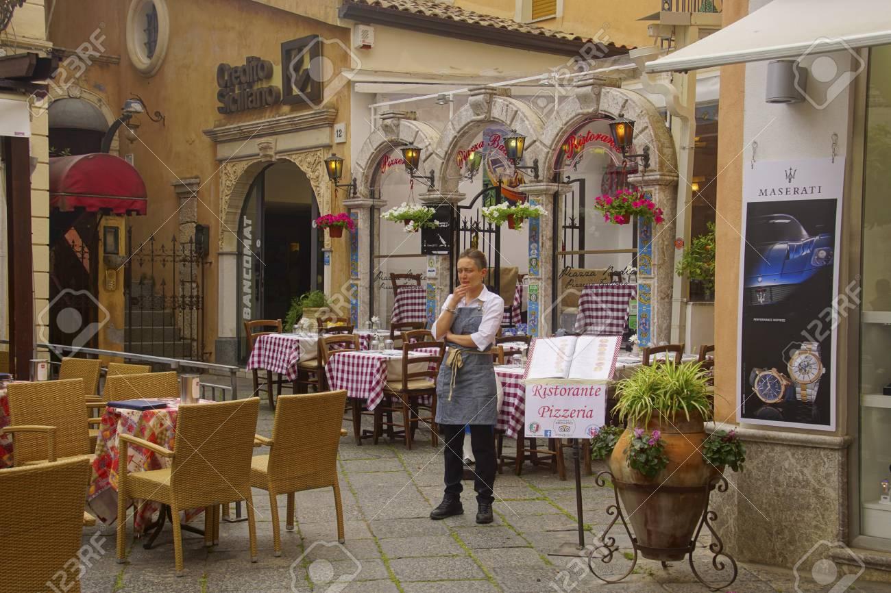Taormina Italy Apr 18 2018 Waitress Outside Her Restaurant