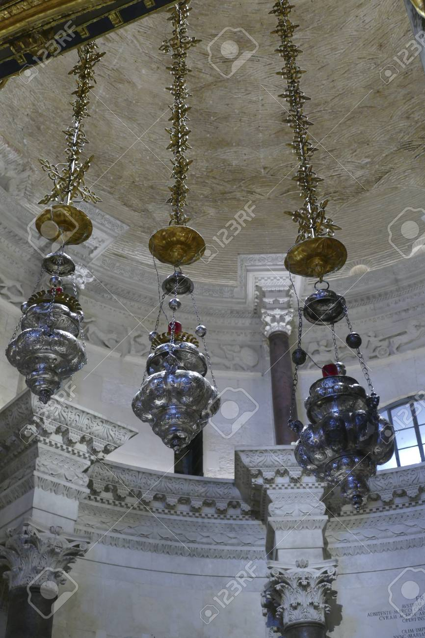SPLIT, CROATIA - MAY 2, 2019 - Ornate lamps hanging from the
