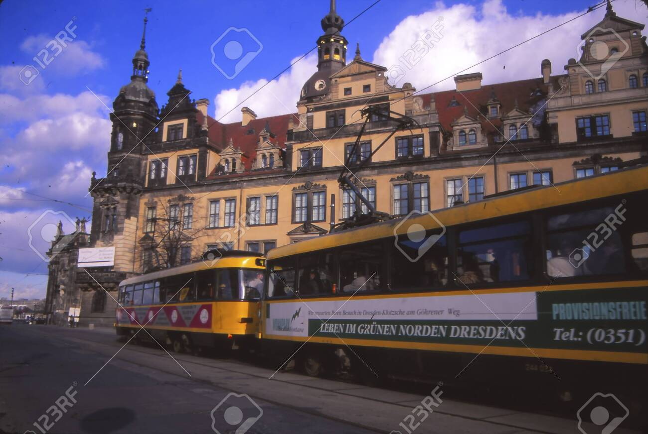 DRESDEN, GERMANY - MAR 8, 1998 -Streetcar in the re-constructed old city of Dresden, Germany - 140570894