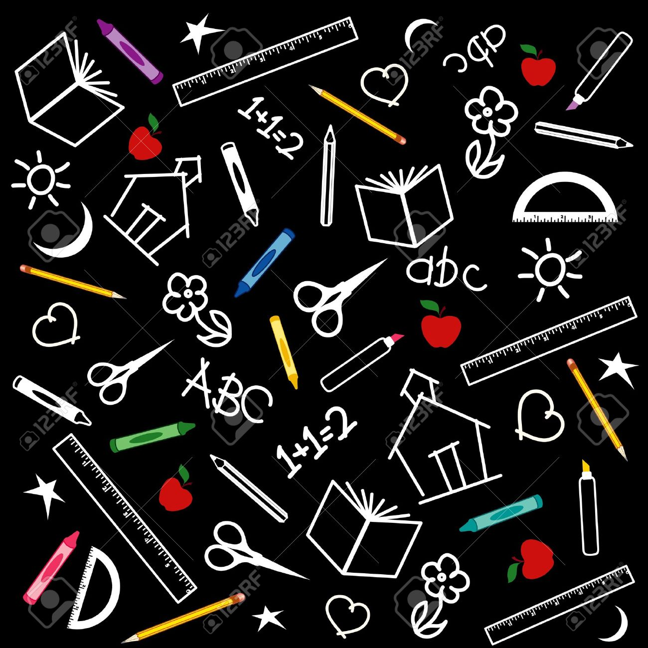Back to school blackboard background with pens, pencils, crayons, scissors, rulers, apples, books, math, ABCs, doodles, schoolhouses. Stock Vector - 10277594
