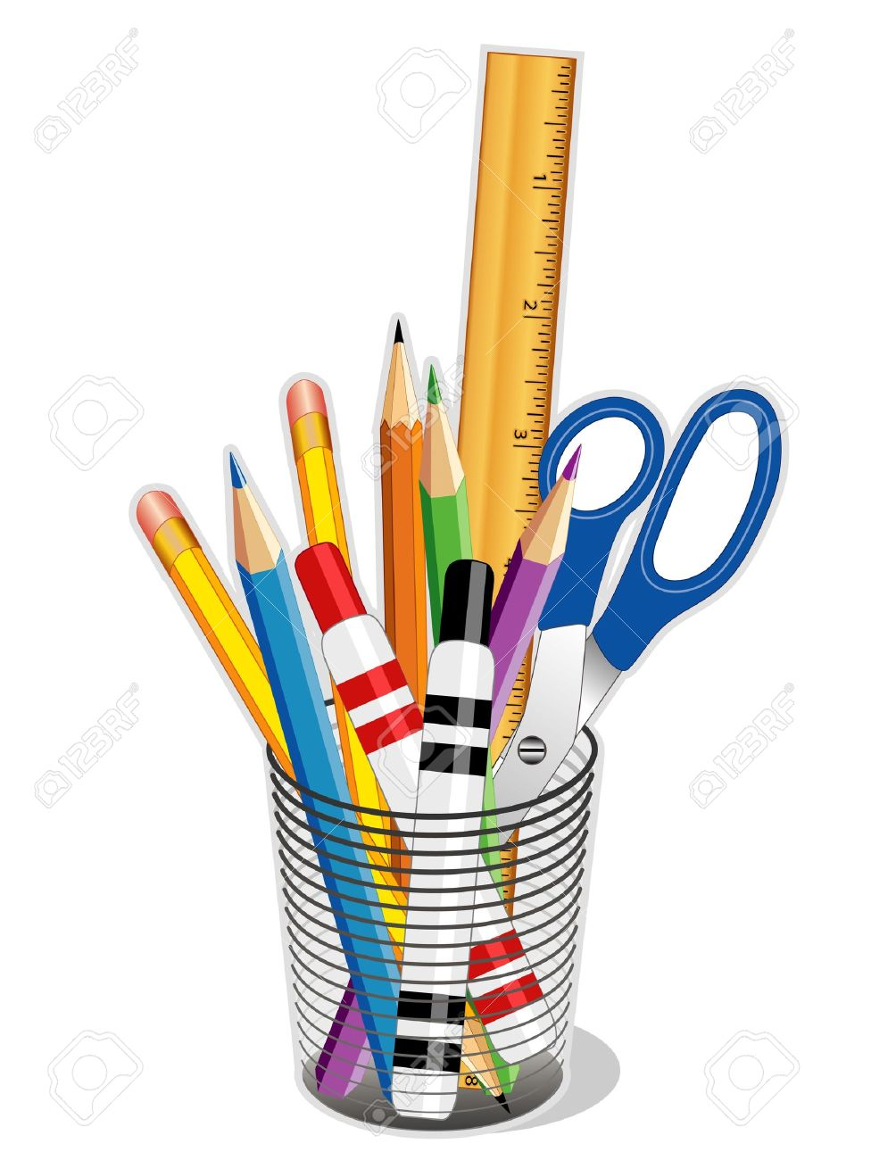 office drawing tools. Writing, Drawing Tools For Business, Home, Back To School. EPS10. Stock Office