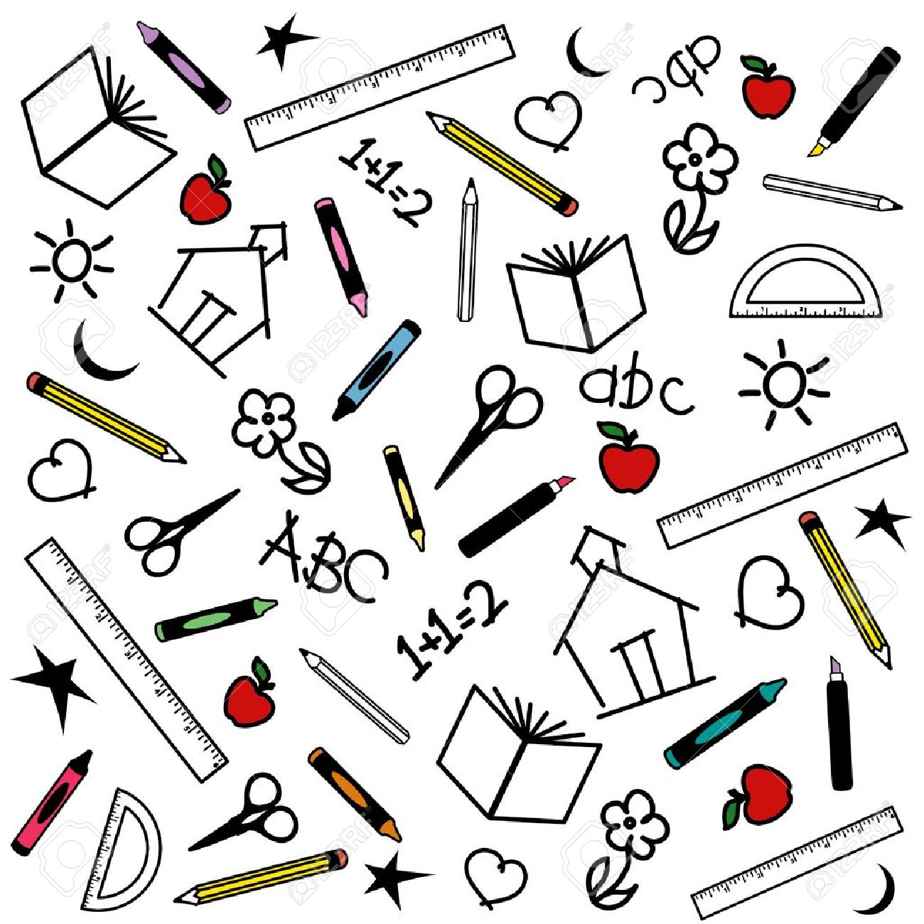 Blackboard Background for back to school, scrapbook, arts, crafts projects, with chalk drawings of apples, schoolhouses, books, rulers, pencils, pens, markers, protractors, crayons, scissors, ABCs, math, grade school doodles. Stock Vector - 11170834