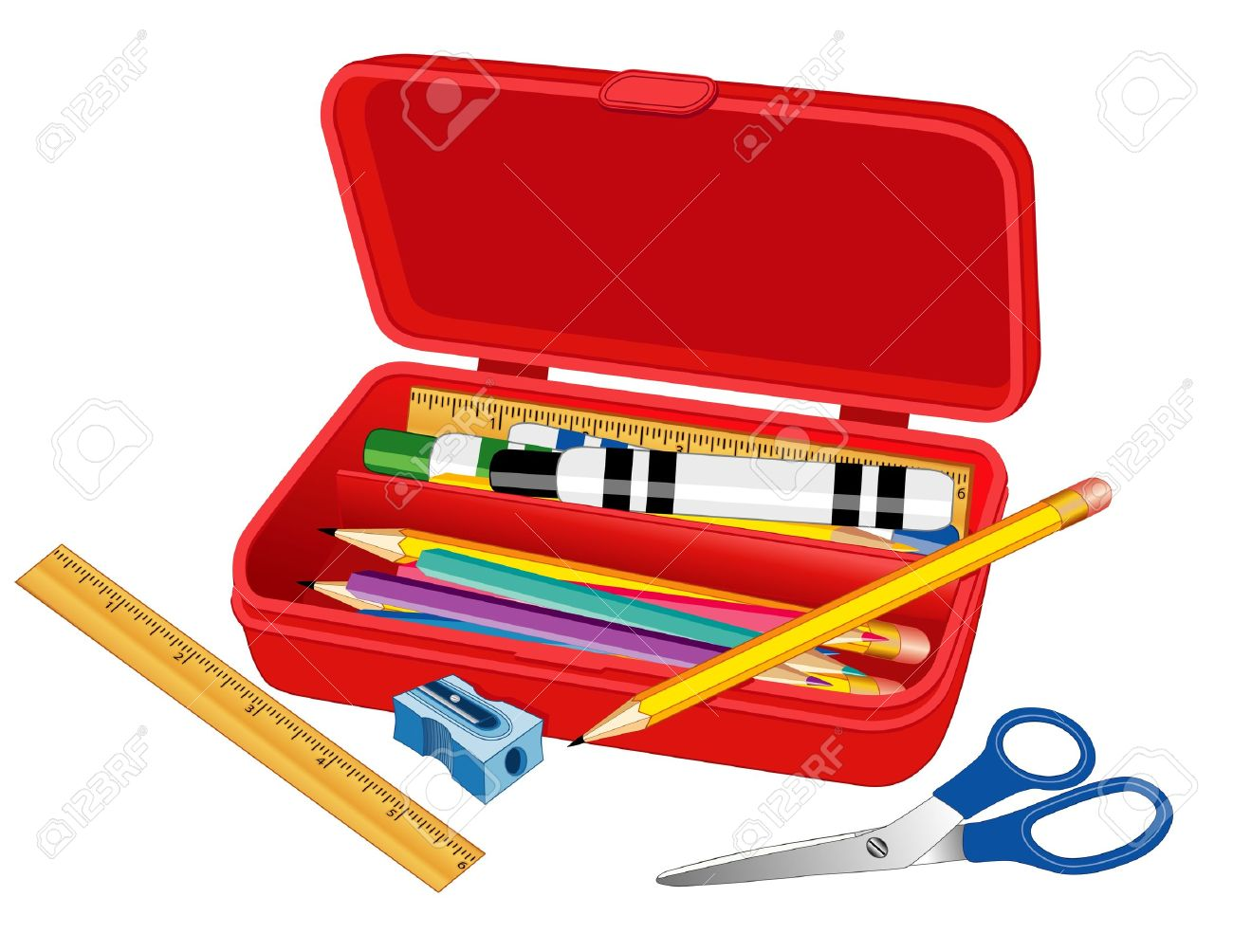 Pencil Box with ruler, marker pens, scissors, pencils and sharpener for home, business, school, literacy projects, scrapbooks. Stock Vector - 11170836