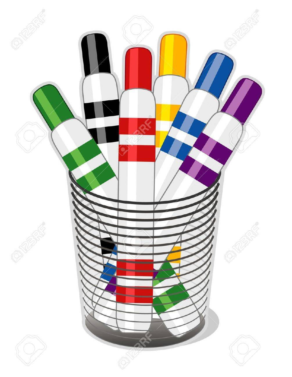Felt Tip Marker Pens in desk organizer for home, business, back to school projects. Stock Vector - 11170846