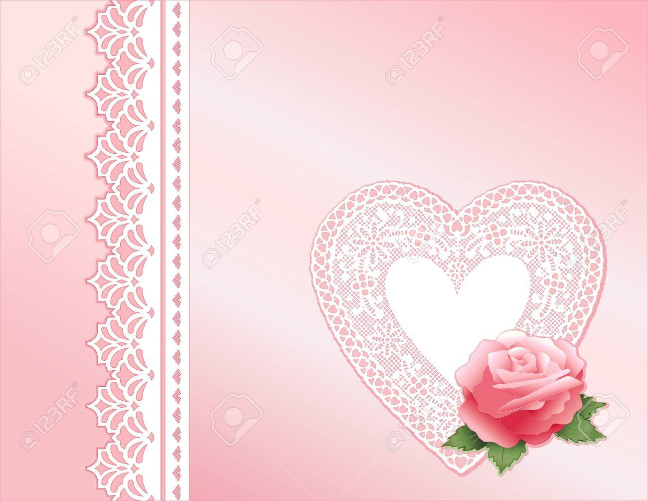 Pink Satin and Lace. Victorian style present with rose, antique lace heart. Copy space. Stock Vector - 11553640