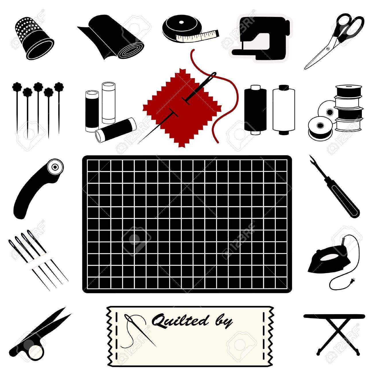 Quilting Icons for quilting, patchwork, applique, trapunto. Stock Vector - 11553626