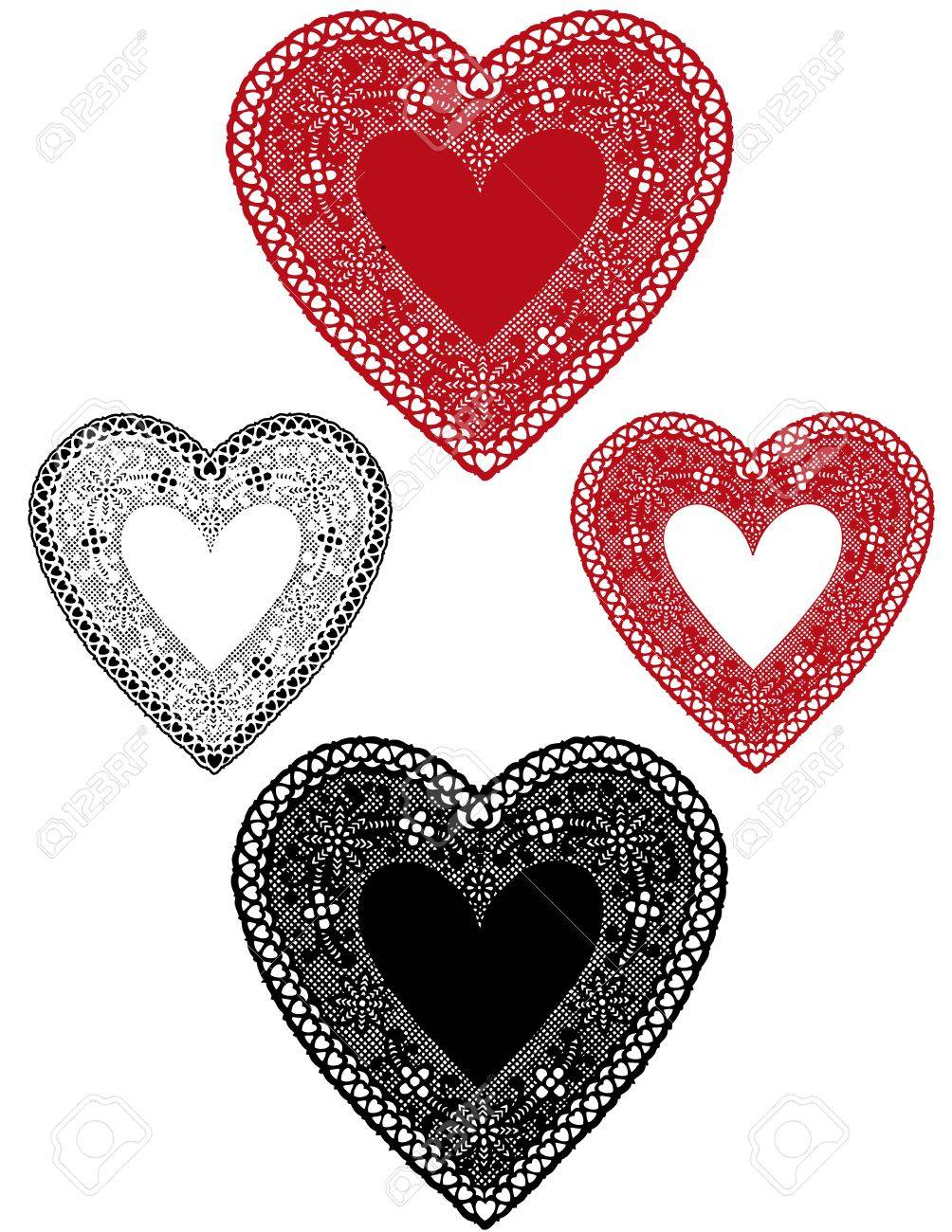 Vintage Red, Black Lace Heart Doilies with copy space for Valentines Day, holidays. Stock Vector - 11553653