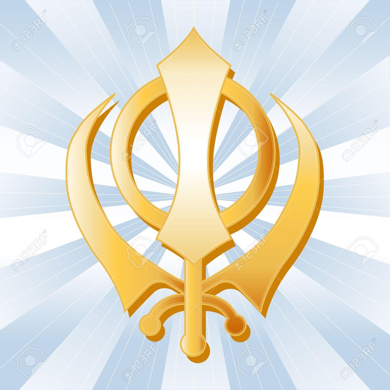 Sikh Symbol, Golden Khanda, icon of the Sikh faith on a sky blue ray background. Stock Vector - 11837263