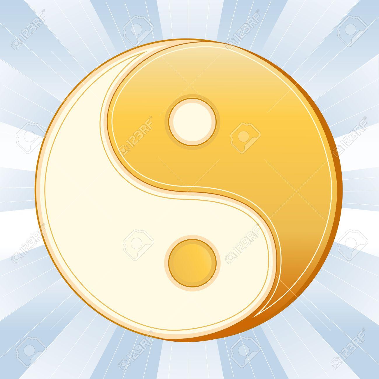 Taoism Symbol, Golden Yin Yang Mandala, icon of Tao faith on a sky blue ray background. Stock Vector - 11837258