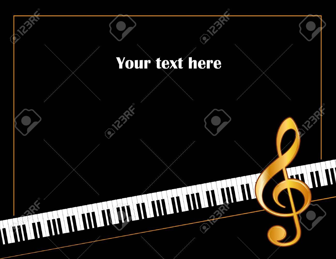 Music Entertainment Event Poster Frame, piano keyboard, golden treble clef, horizontal. Stock Vector - 12136869