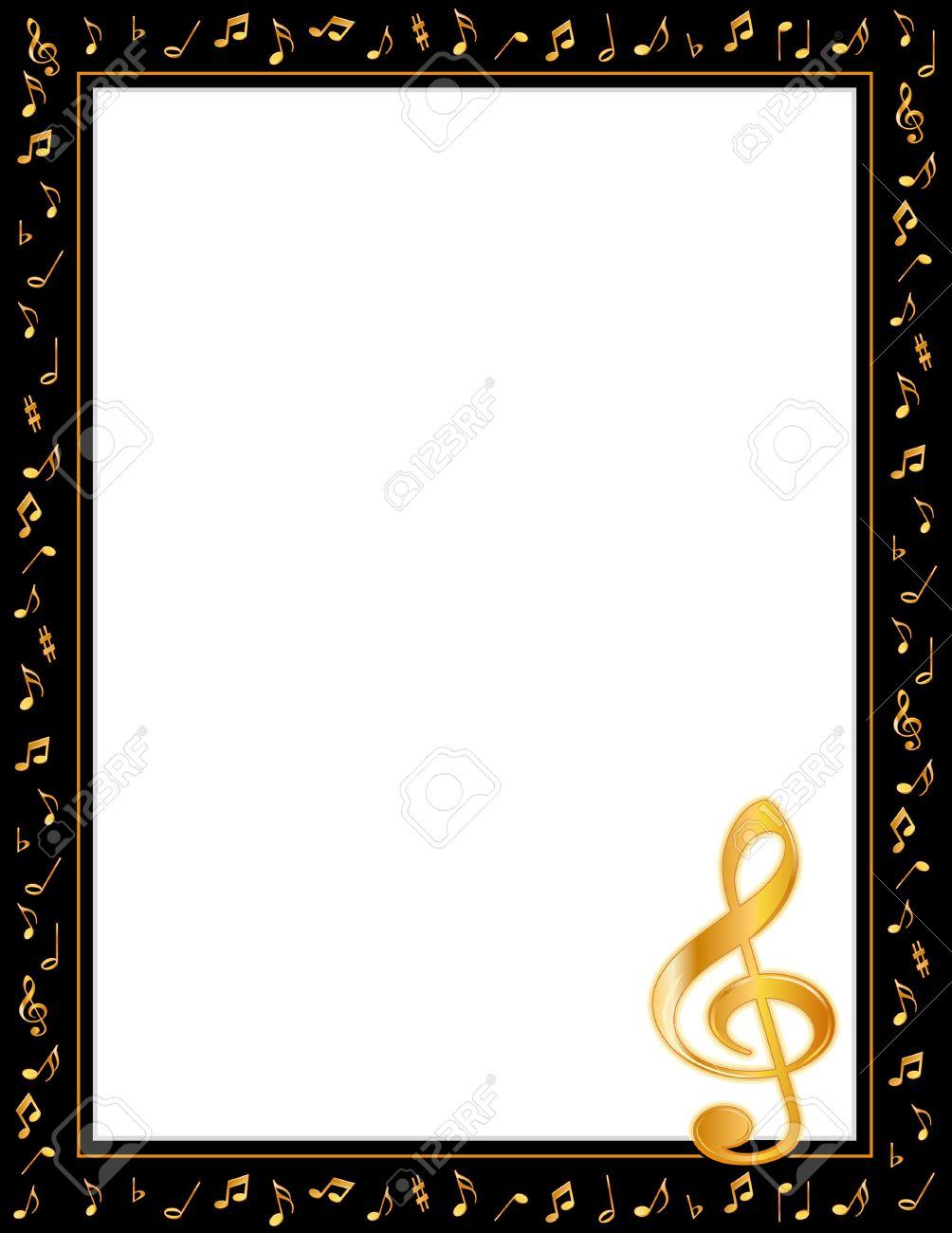Music Entertainment Poster Frame, Black Border, Gold Music Notes ...