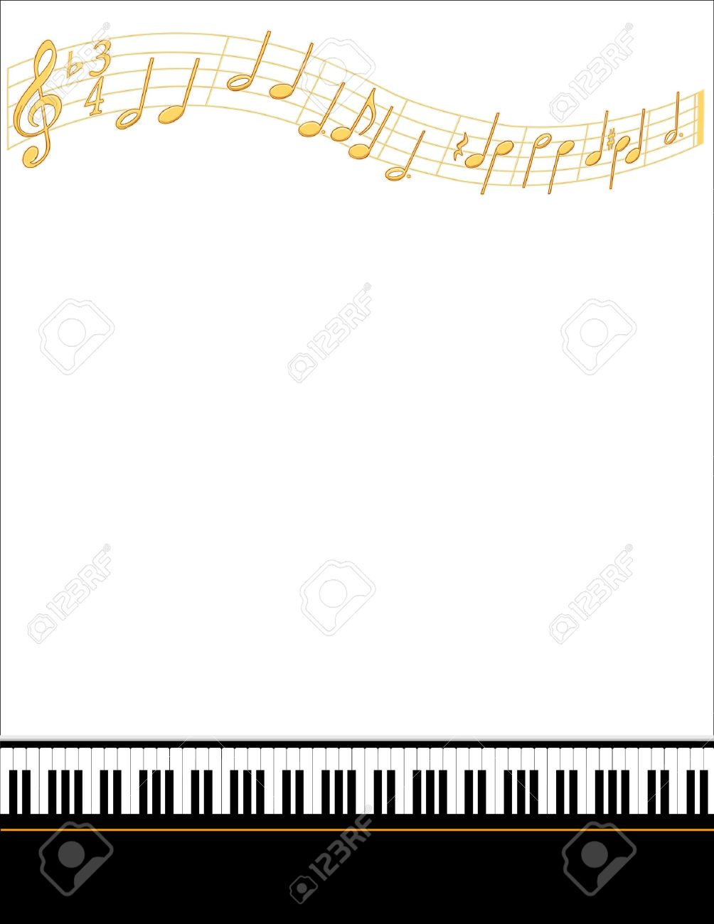 Music Entertainment Event Poster Frame, piano keyboard, gold notes, vertical. Stock Vector - 12136874