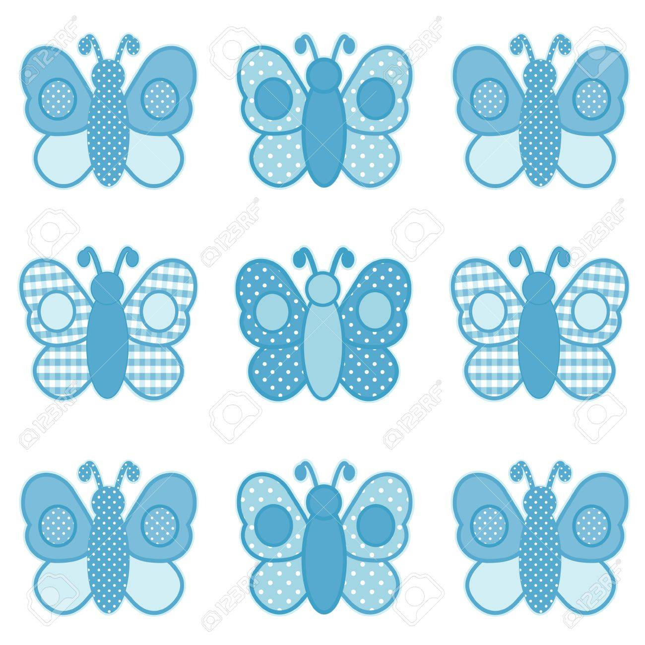 Baby Butterflies, Pastel Aqua Gingham and Polka Dots, for scrapbooks, albums, baby books. Stock Vector - 12136845