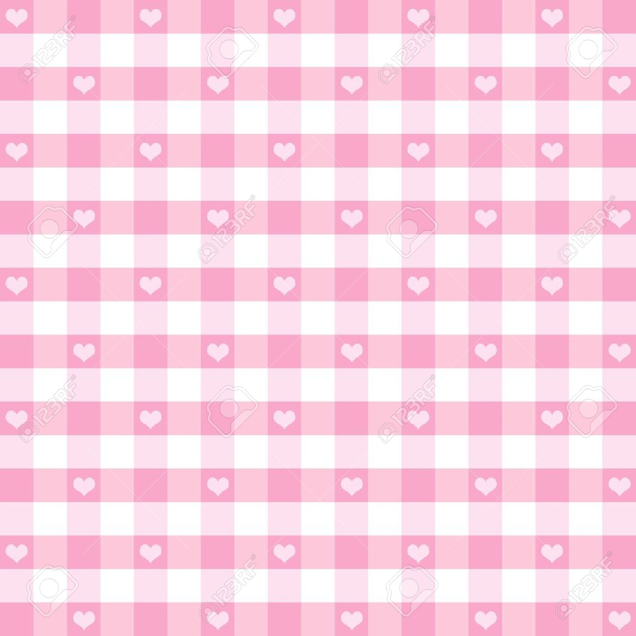 Seamless Gingham Pattern with Hearts, Pastel Pink, for scrapbooks, albums, baby books, decorating. Stock Vector - 12136860