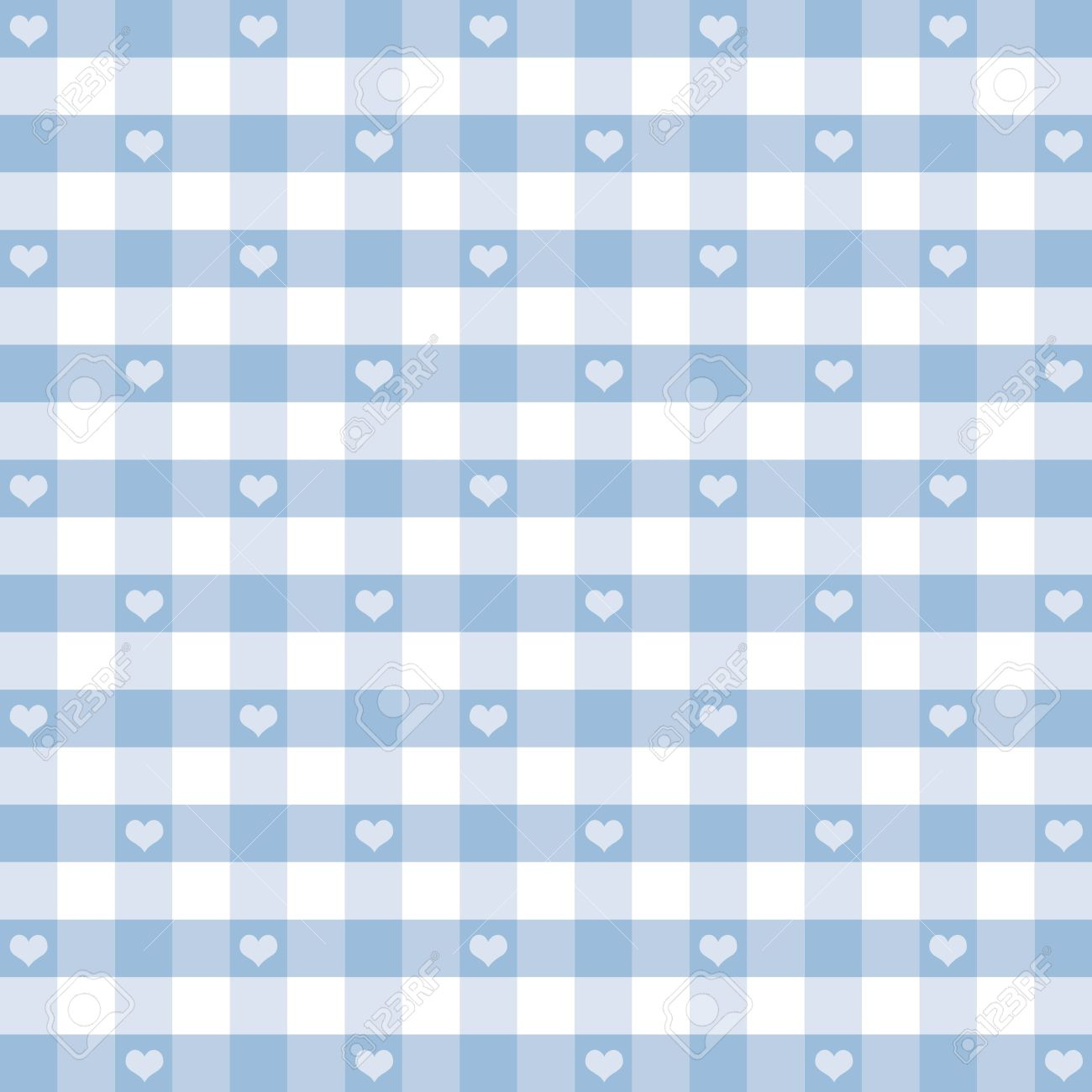 Seamless Gingham Pattern with Hearts, Pastel Blue, for scrapbooks, albums, baby books, decorating. Stock Vector - 12136857