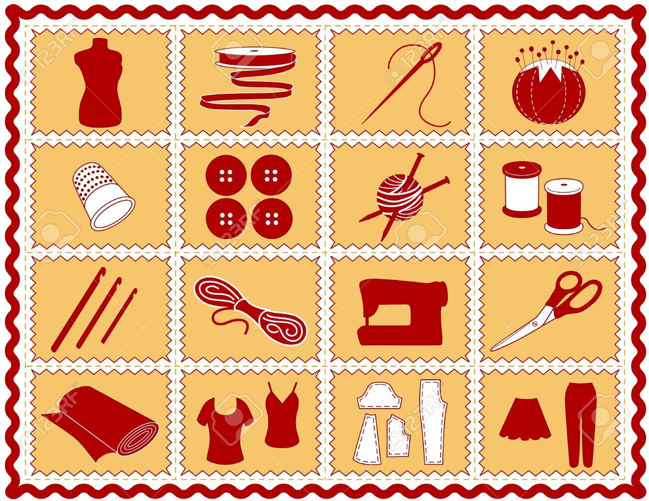 Costura, Sastrería, Iconos De Punto, Ganchillo. Herramientas E ...