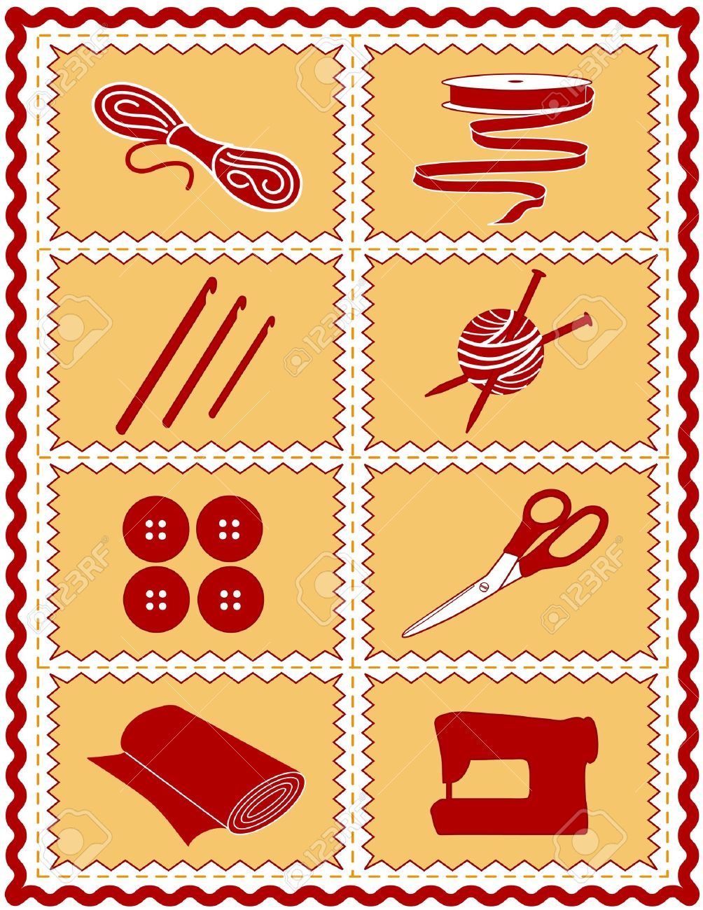 Costura, Punto De Ganchillo, Manualidades Iconos. Herramientas E ...