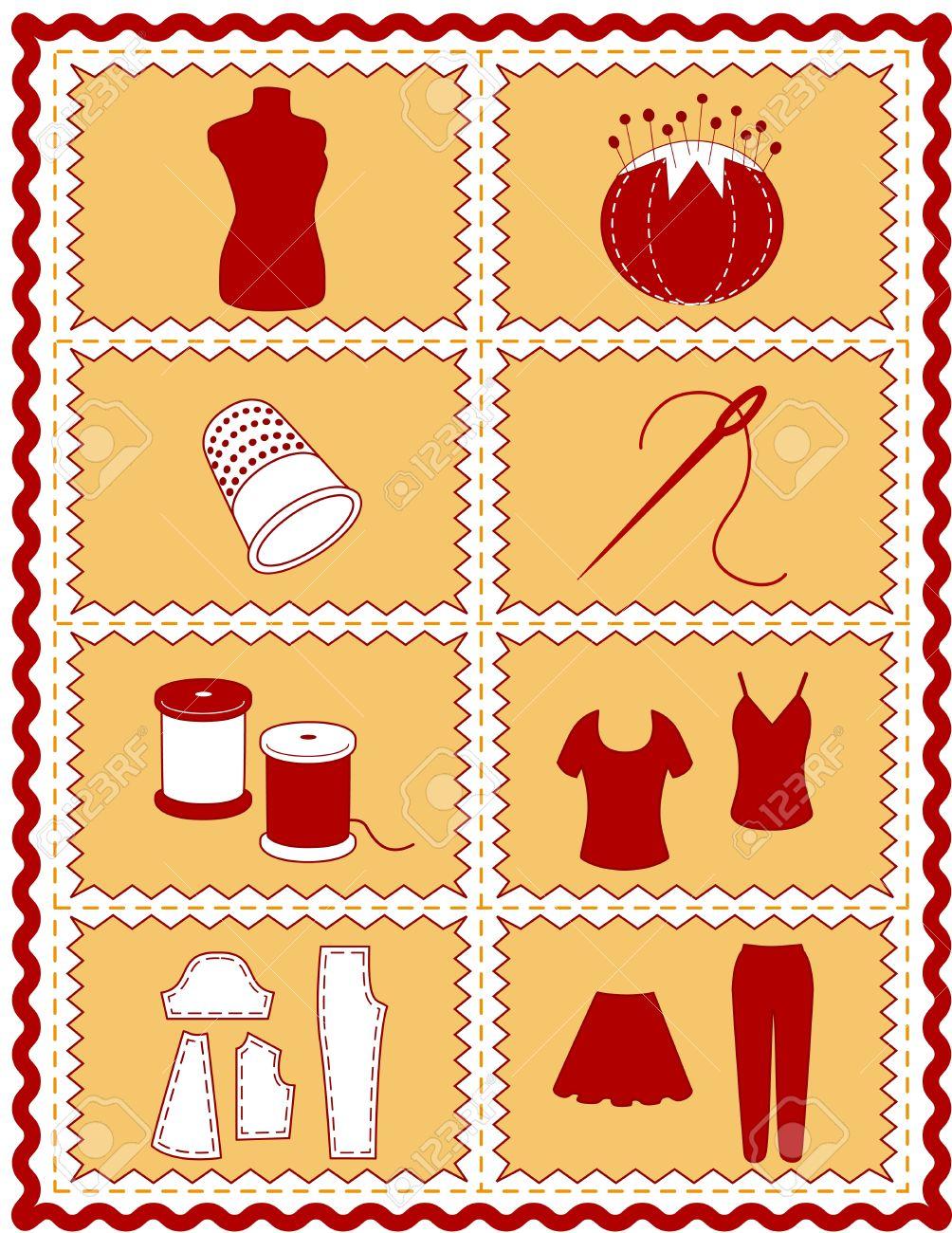 Costura Iconos. Herramientas E Insumos Para La Costura, Sastrería ...