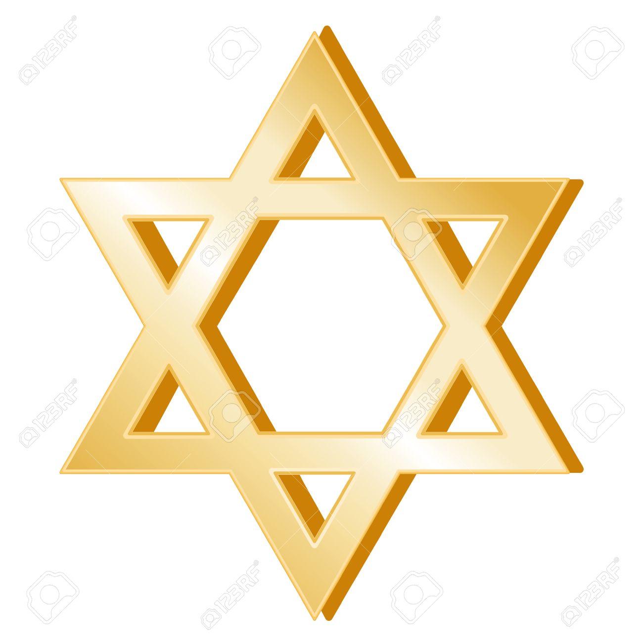 Judaism Symbol. Golden Star of David, symbol of the Jewish faith, white background. Stock Vector - 12392253