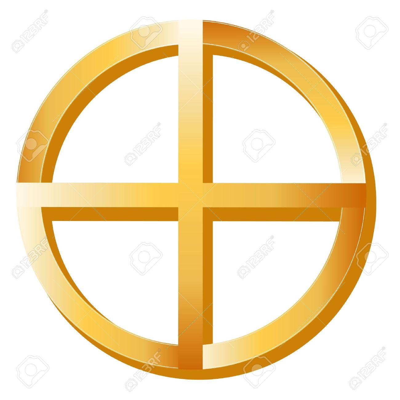 Native Spirituality Symbol. Golden Medicine Wheel, symbol of Native Spirituality, white background. Stock Vector - 12392257