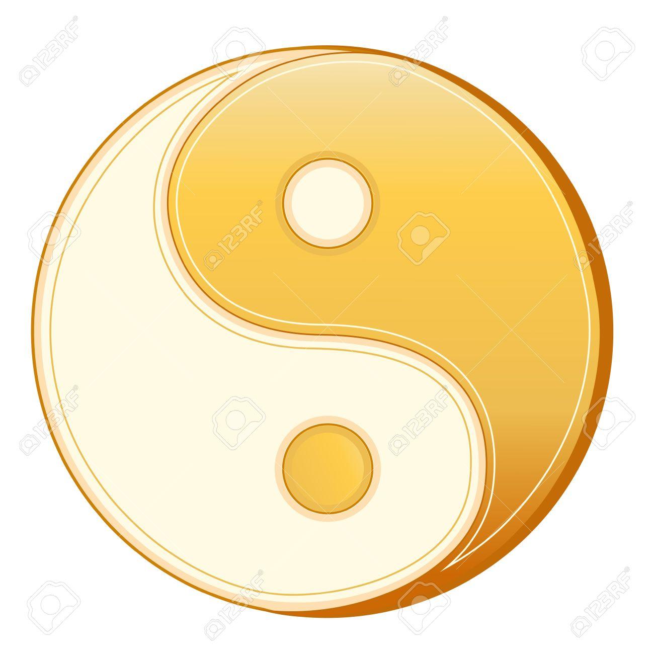 Taoism Symbol Golden Yin Yang Mandala Of Tao Faith White