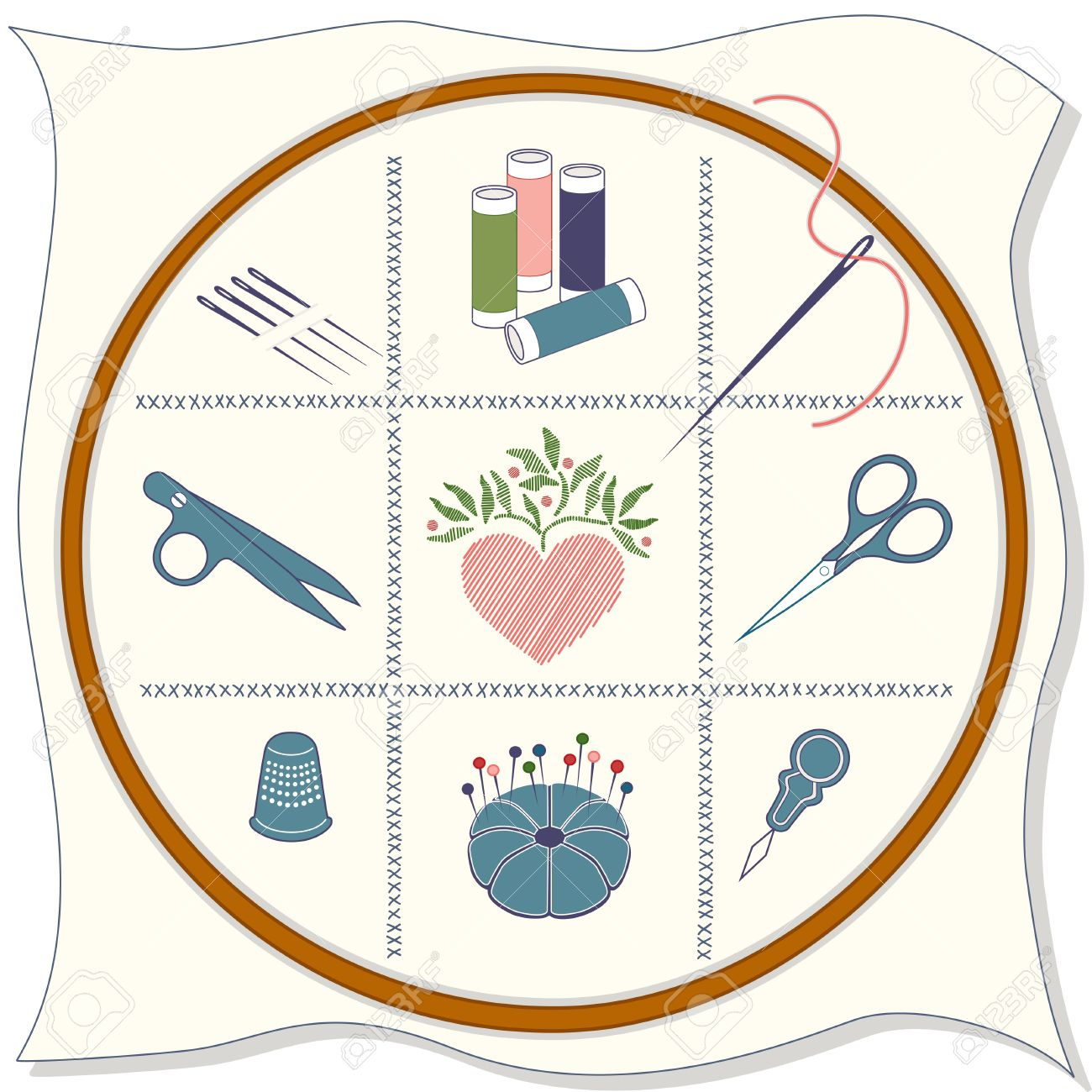 Embroidery Icons: wood hoop, fabric, cross stitch, sewing needles, spools of threads, thread clips, stitched heart, embroidery scissors, thimble, pins, pincushion, needle threader. Stock Vector - 12392234