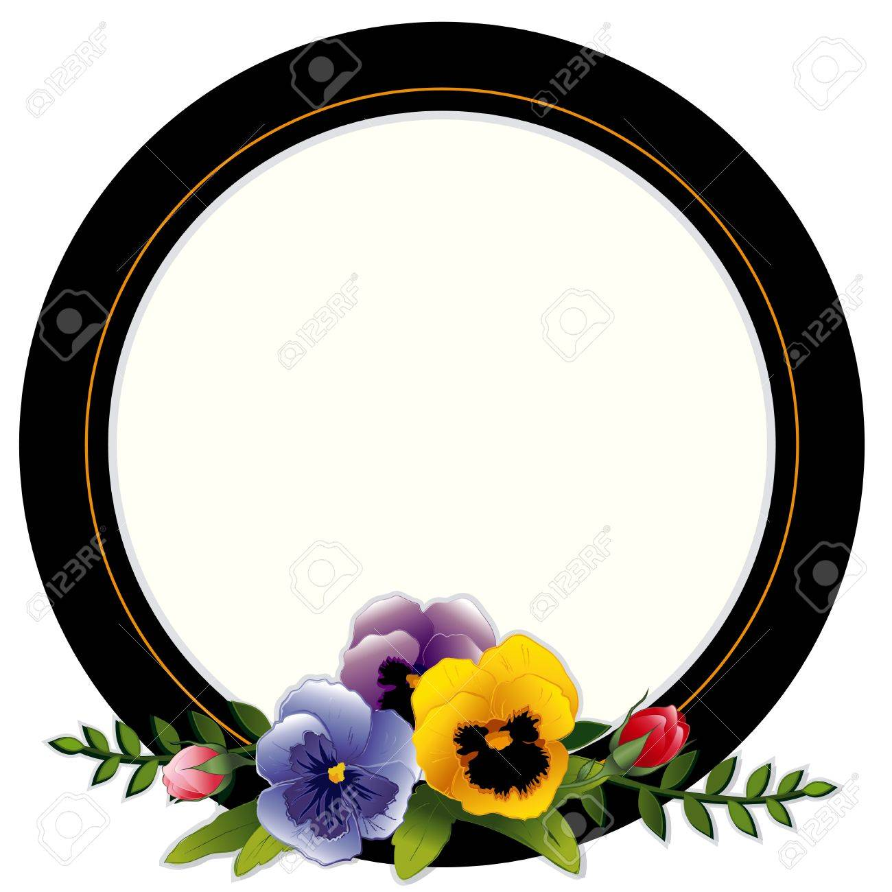 Vintage Frame, Pansies and Roses. Copy space for your text or picture. Traditional for gift tag, card, label, stationery, or announcement for celebrations, holidays, scrapbooks, albums. Stock Vector - 12392270