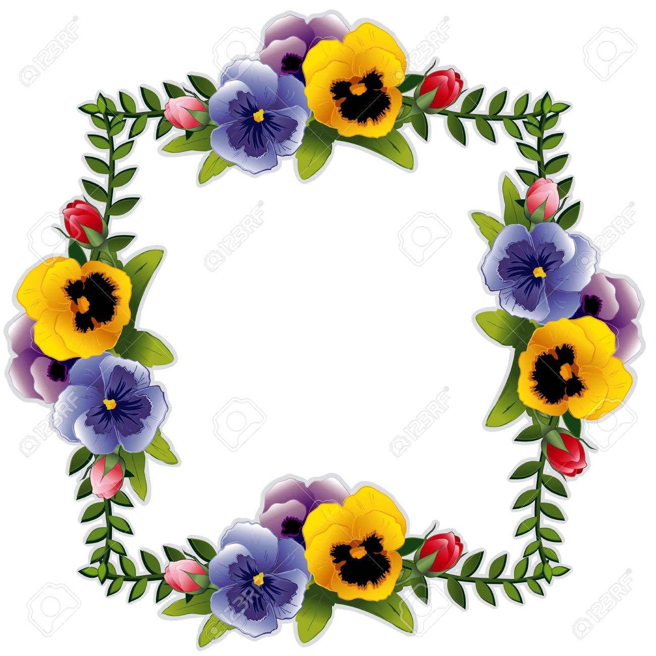 Victorian Flower Frame with Pansies and Roses. Copy space for your text or picture. Traditional for gift tag, card, label or announcement for celebrations, holidays, scrapbooks, albums. Stock Vector - 12392312