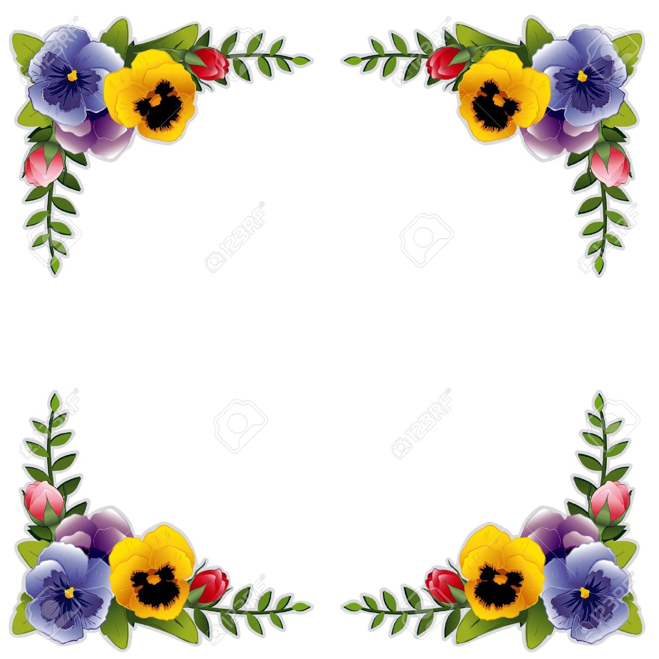 Victorian Flower Frame with Pansies and Roses. Copy space for your text or picture. Traditional for gift tag, card, label or announcement for celebrations, holidays, scrapbooks, albums. Stock Vector - 12392311