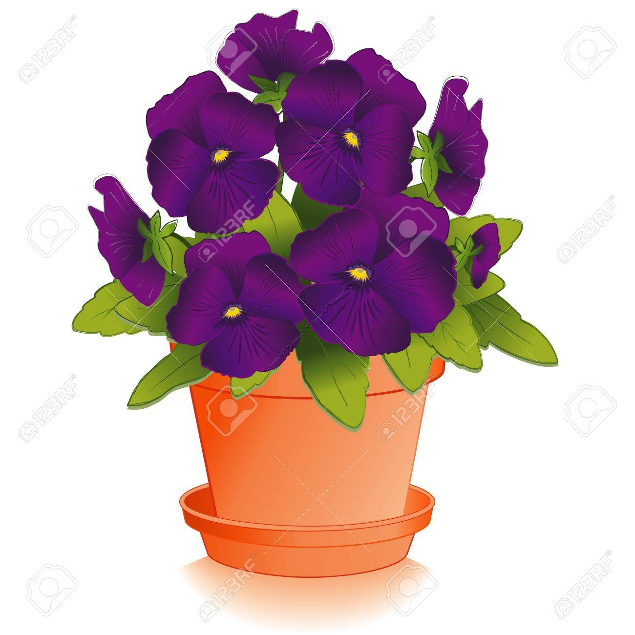 Purple Pansy Flowers in Clay Flowerpot Stock Vector - 12392271