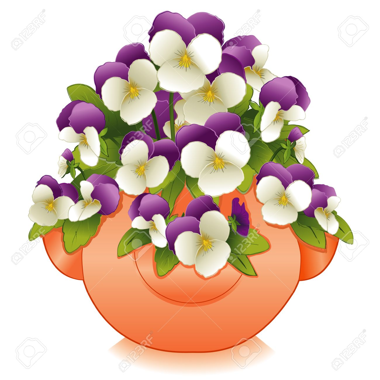 Johnny Jump Up Flowers (Pansies) in Clay Strawberry Jar Planter Stock Vector - 12392280