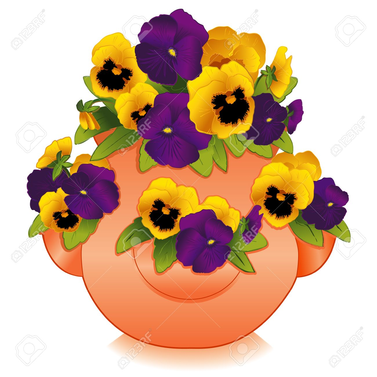 Gold and Purple Pansy Flowers in Clay Strawberry Jar Planter Stock Vector - 12392313