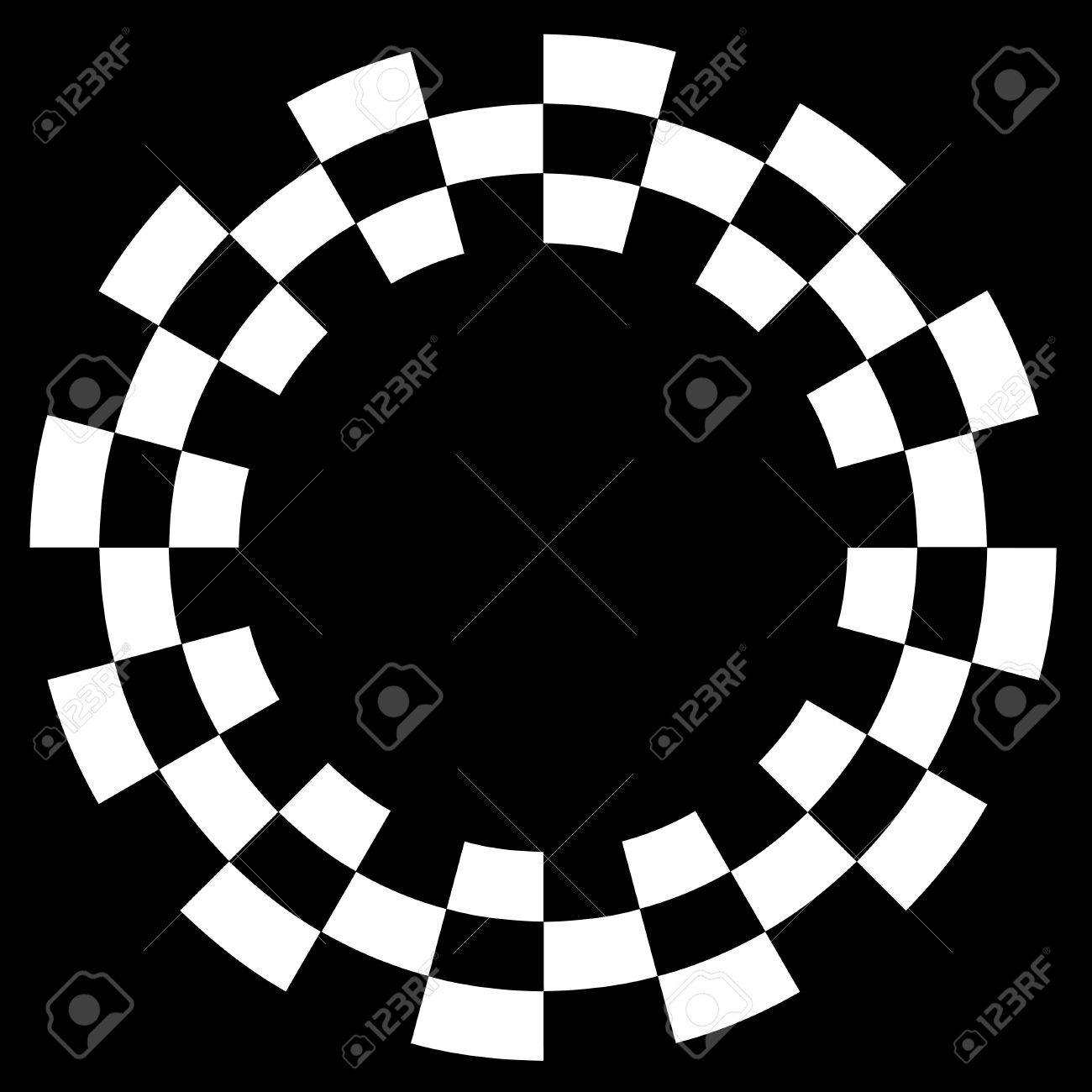Checkerboard Frame, Spiral Design Border Pattern, Copy Space, White on Black  EPS8 Stock Vector - 12496747
