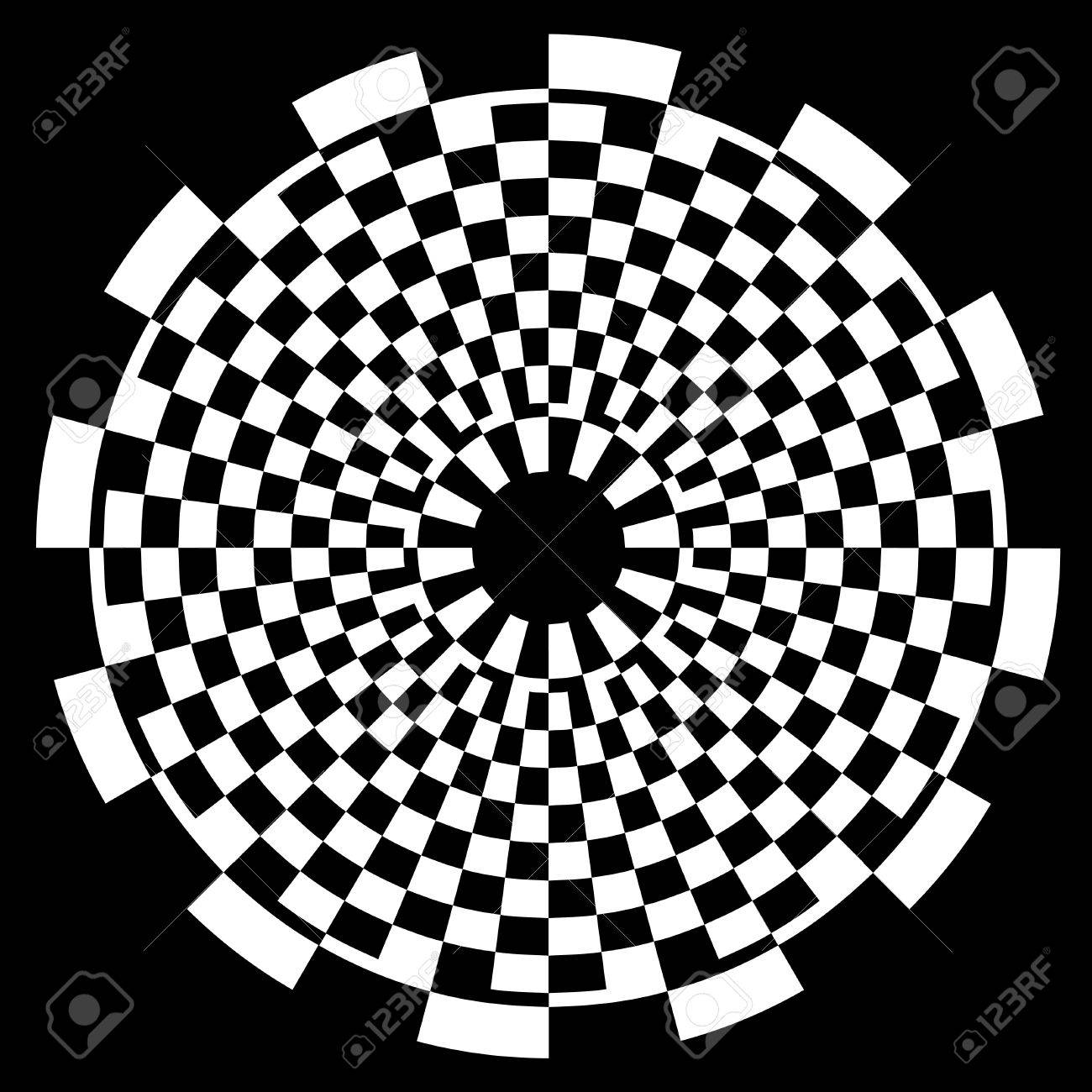 Checkerboard Spiral Design Illusion Background Pattern, white on black  EPS8 Stock Vector - 12496755
