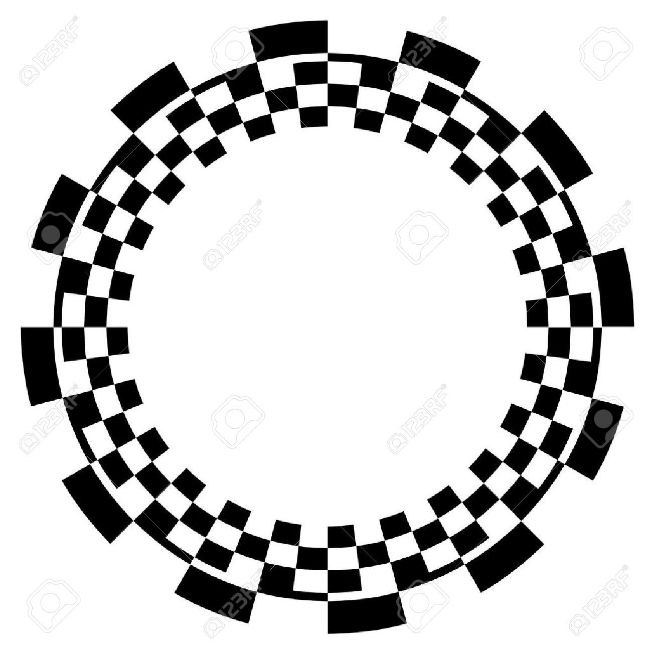 Checkerboard Frame, Spiral Design Border Pattern, Copy Space, Black on White  EPS8 Stock Vector - 12496750