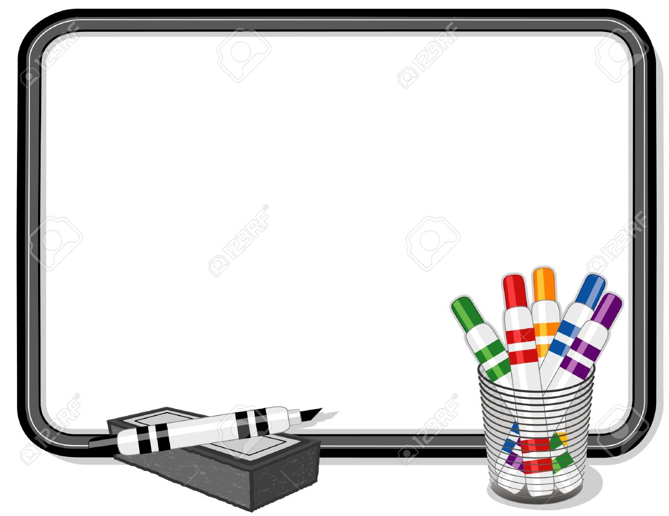 whiteboard with multicolor marker pens royalty free cliparts