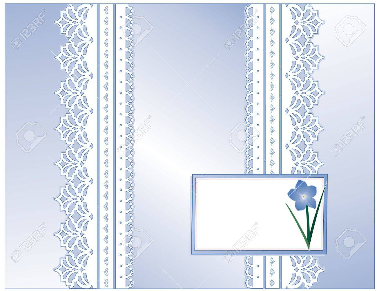 Antique Lace, Victorian style, pastel blue satin, Forget Me Not flower, Gift card with copy space for Mother s Day, birthdays, anniversaries, weddings, showers, celebrations Stock Vector - 12972626