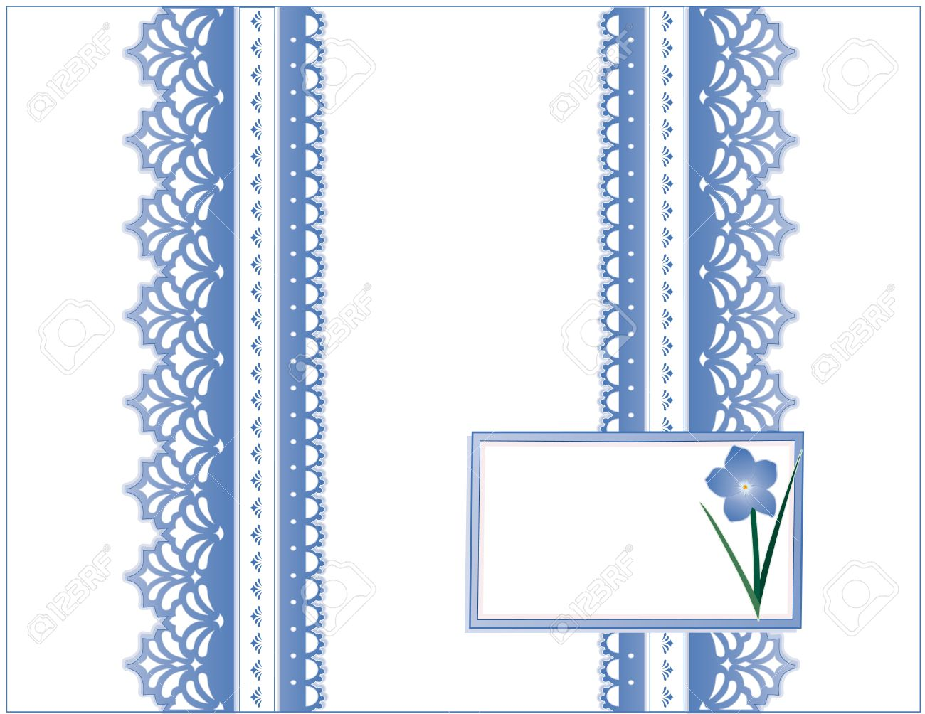 Vintage Lace, Victorian style, pastel blue, Forget Me Not flower,  Gift card with copy space for birthdays, anniversaries, Mother s Day, weddings, showers, celebrations Stock Vector - 12972622