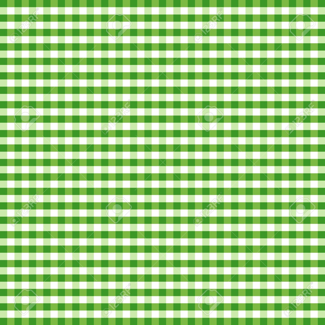 Seamless Pattern Green And White Gingham Check Background Stock Vector