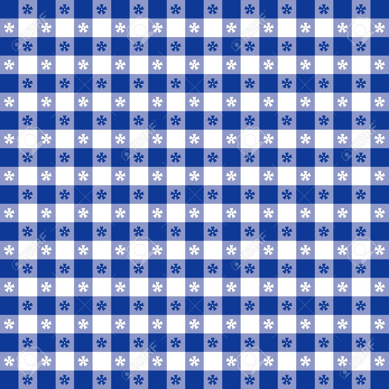 Beautiful Seamless Tablecloth Pattern, Blue Gingham Check EPS8 File Includes Pattern  Swatch That Will Seamlessly Fill