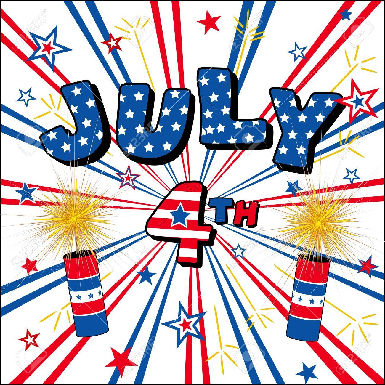 July 4 Stars, Stripes, Firecrackers Stock Vector - 13177247