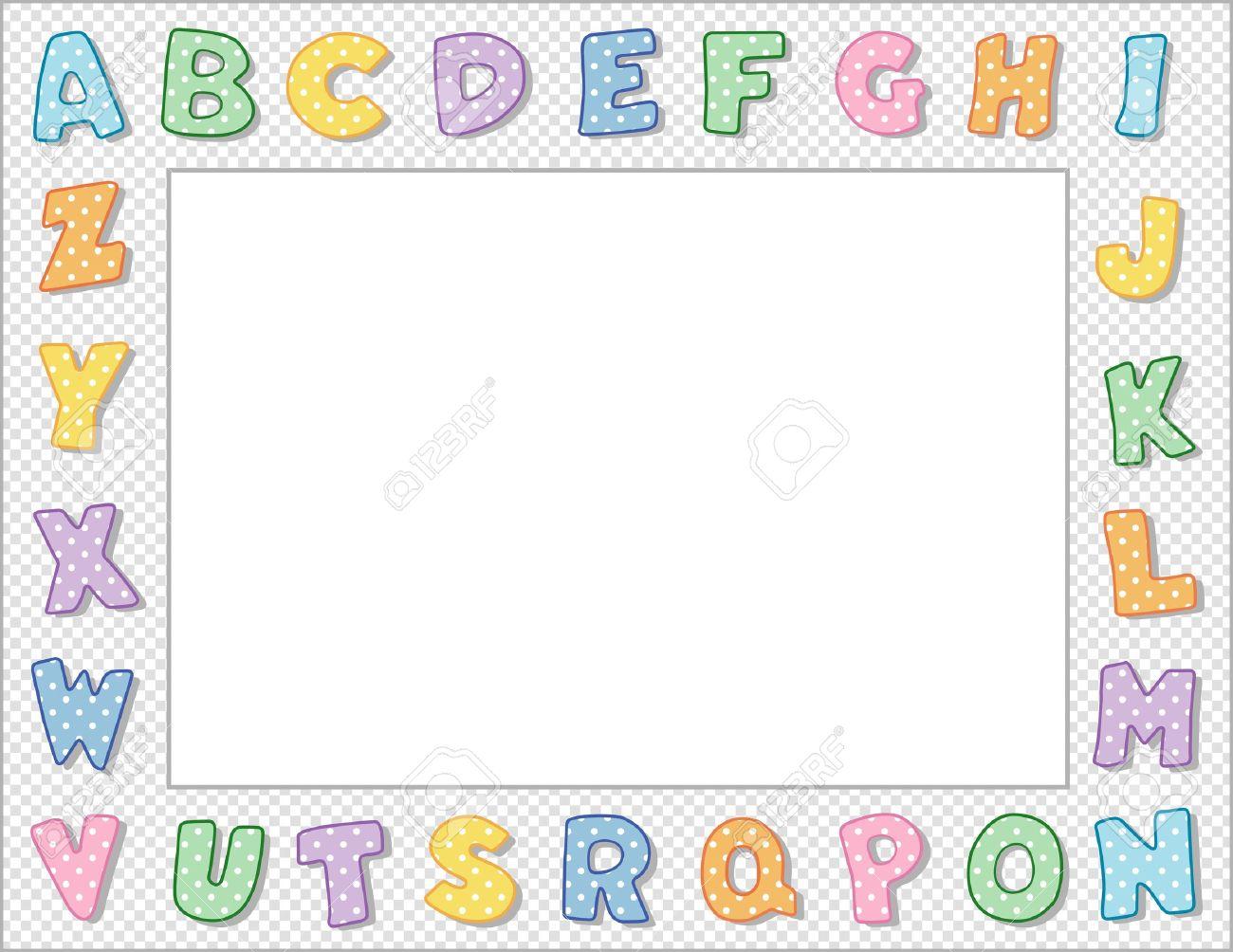 Pastel Polka Dot Alphabet Frame with Copy Space Stock Vector - 13285814
