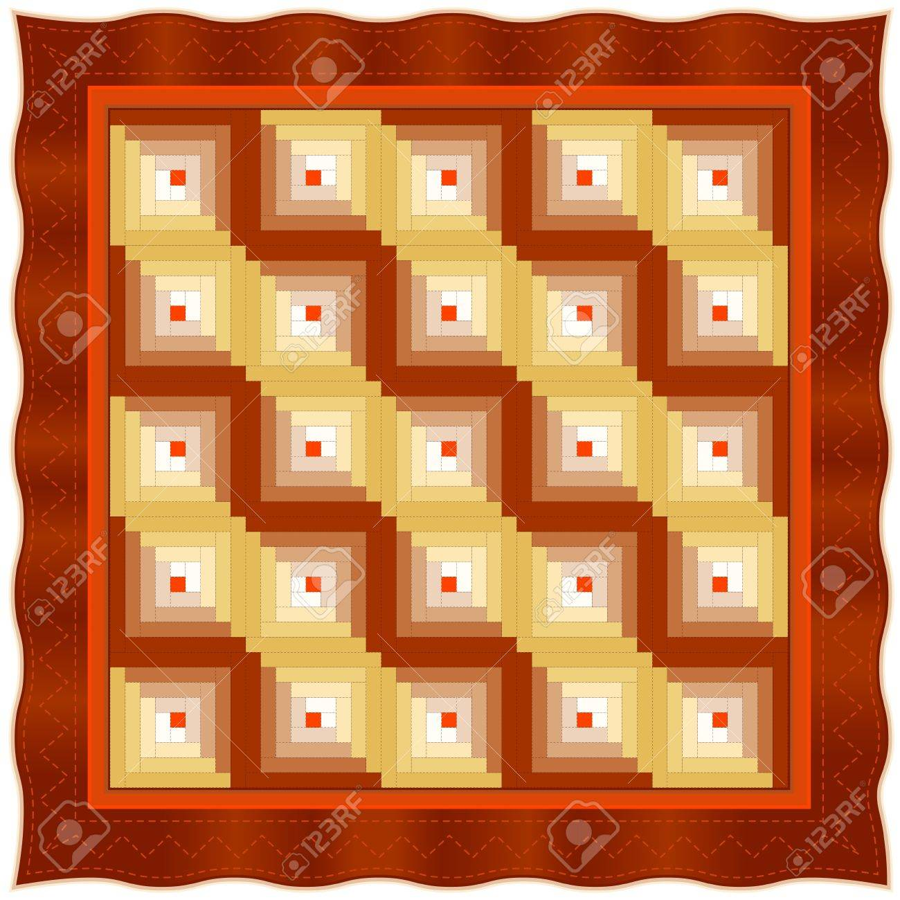 Quilt, Log Cabin Pattern, Straight Furrow Design, traditional stitched patchwork Stock Vector - 13607160