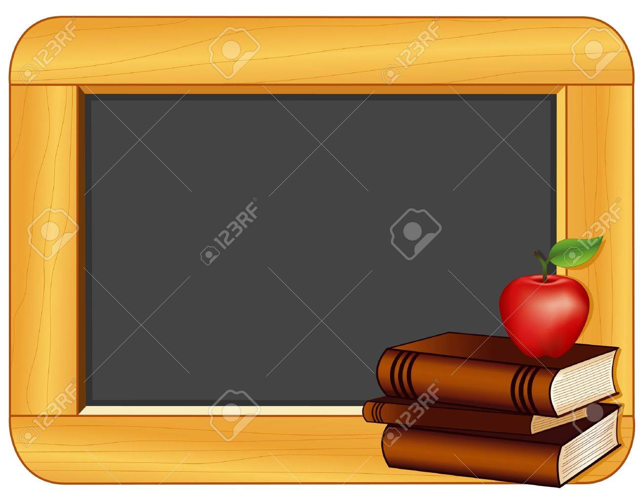 Books, Apple, Blackboard with copy space for education and back to school projects - 13675618