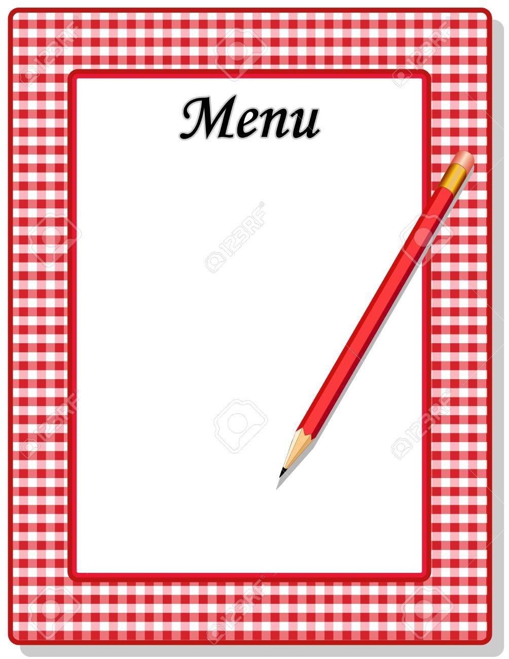 Retro Menu with red gingham check frame and pencil, for restaurant, diner, cafe or bistro Stock Vector - 13699673