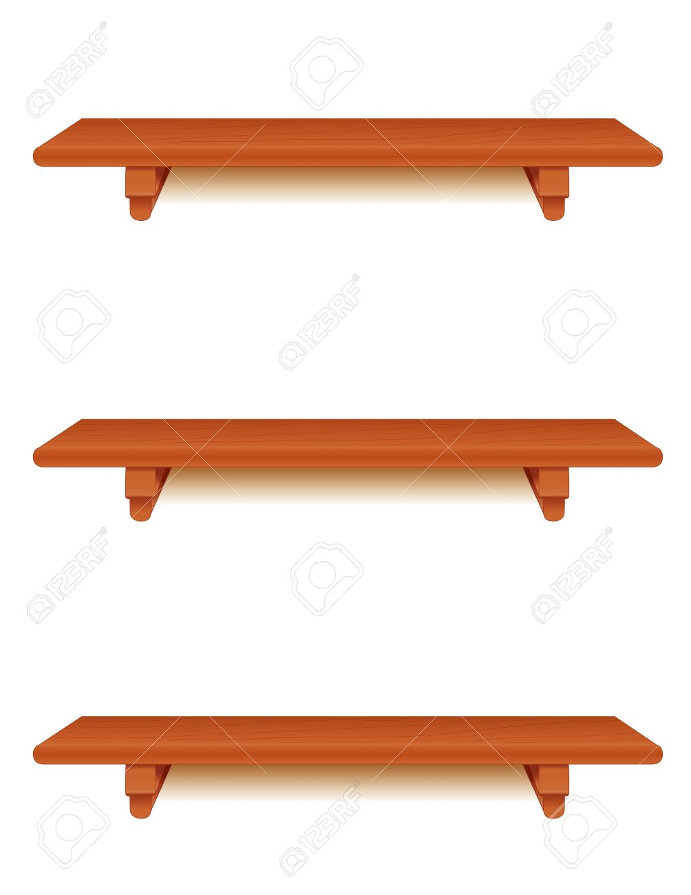 Cherry wood wall shelves with brackets isolated on white royalty cherry wood wall shelves with brackets isolated on white stock vector 13699686 amipublicfo Images
