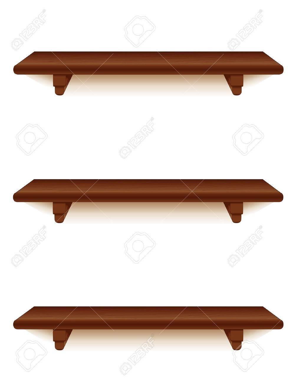 Muur Planken Aan De Muur.Mahogony Houten Muur Planken Met Beugels Op Wit Wordt Geisoleerd