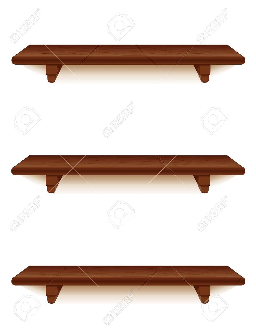 Mahogony Wood Wall Shelves With Brackets Isolated On White