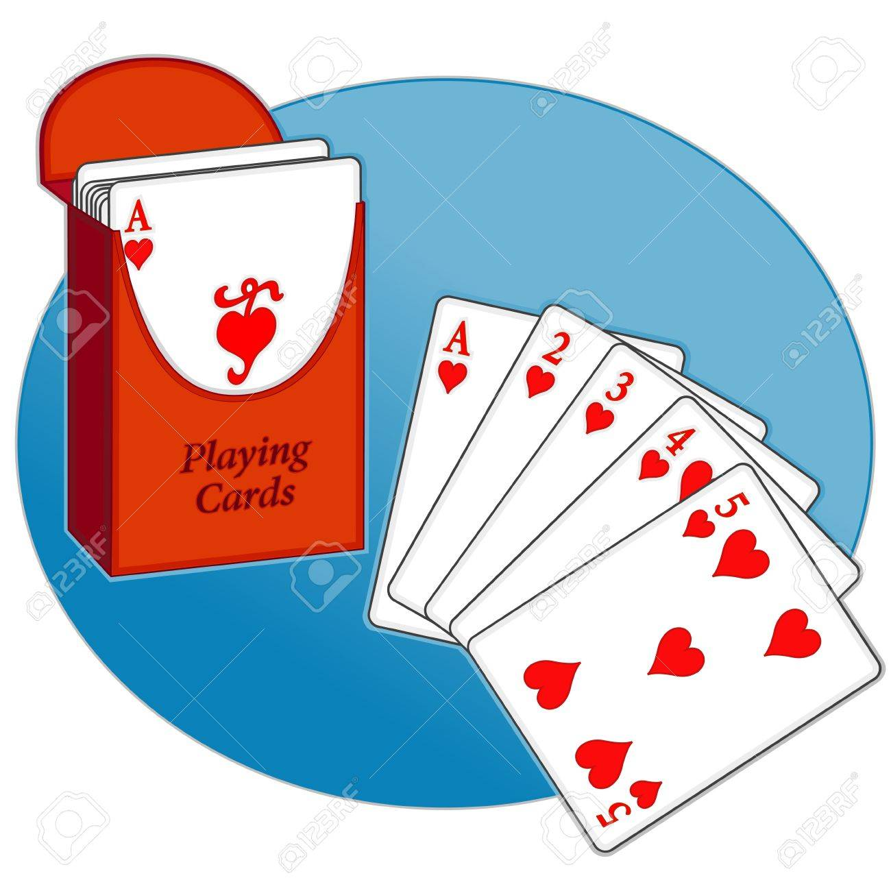 Poker, Straight Flush, box of playing cards, text Stock Vector - 13850512