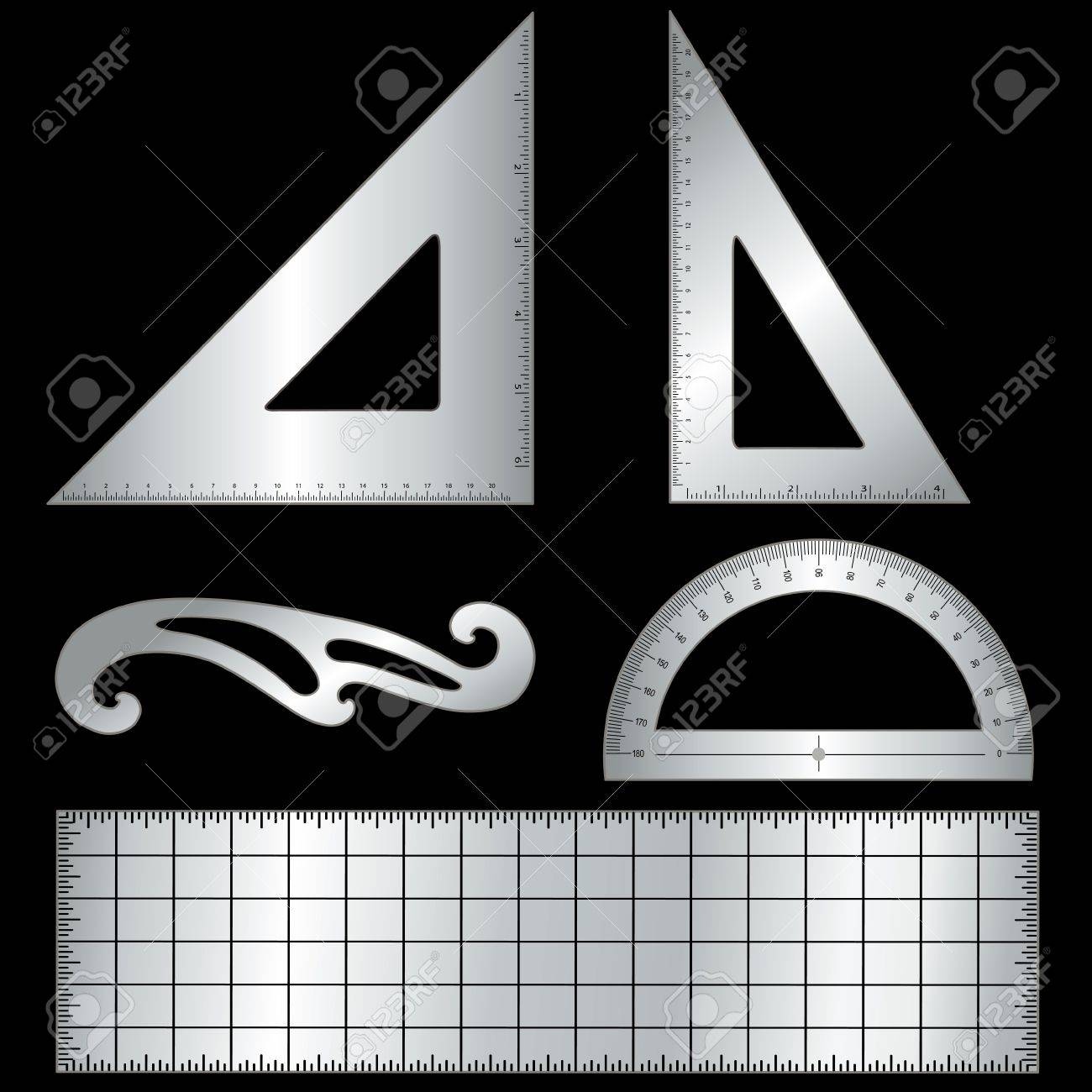 Metal Drafting Tools For Architecture And Engineering Isolated On Black  Background 45 Degree Triangle, 60